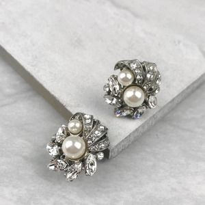 NEW BHLDN Vintage Crystal & Pearl Clip-On Earrings